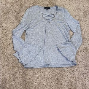 BCX Lace Up Gray Sweater